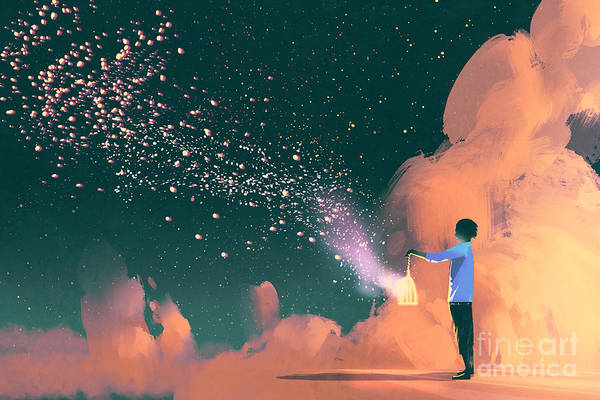 Cloud Digital Art - Man Holding A Cage With Floating by Tithi Luadthong