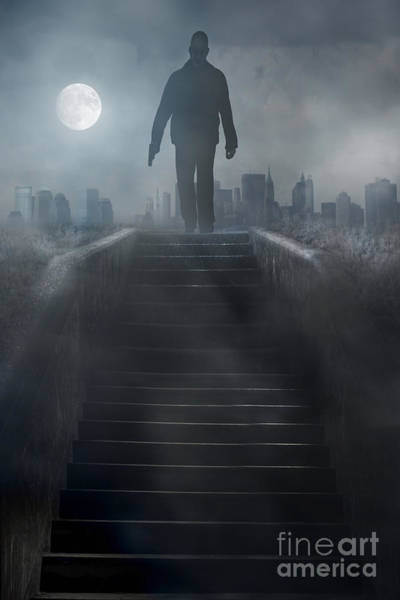 Photograph - Man Holding Gun Walking Down Stair At Night by Sandra Cunningham
