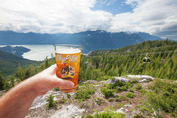 Wall Art - Photograph - Man Holding Ice Cold Beer Near Summit by Christopher Kimmel