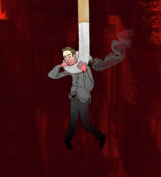 Social Living Wall Art - Photograph - Man Hung From Cigarette by Fanatic Studio / Science Photo Library