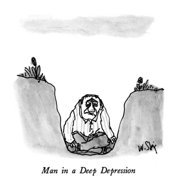 June 8th Drawing - Man In A Deep Depression by William Steig