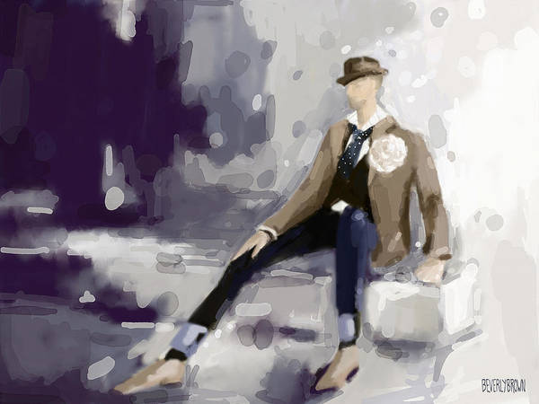 Abstract People Painting - Man In A Fedora Fashion Illustration Art Print by Beverly Brown