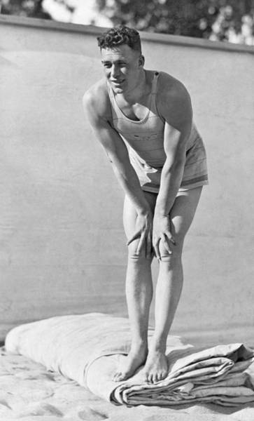 Olympic Club Photograph - Man In Early Bathing Suit by Underwood Archives