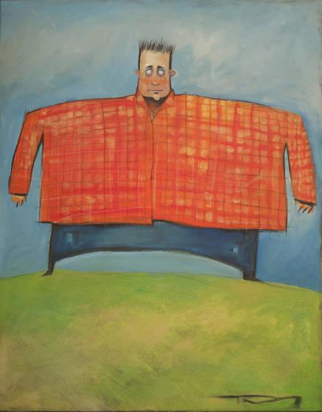 Wall Art - Painting - Man In Orange Plaid Shirt by Tim Nyberg