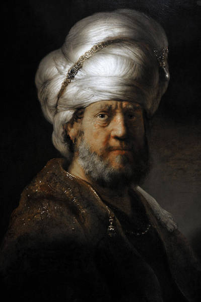 Wall Art - Photograph - Man In Oriental Dress, 1635, By Rembrandt 1606-1669 by Bridgeman Images