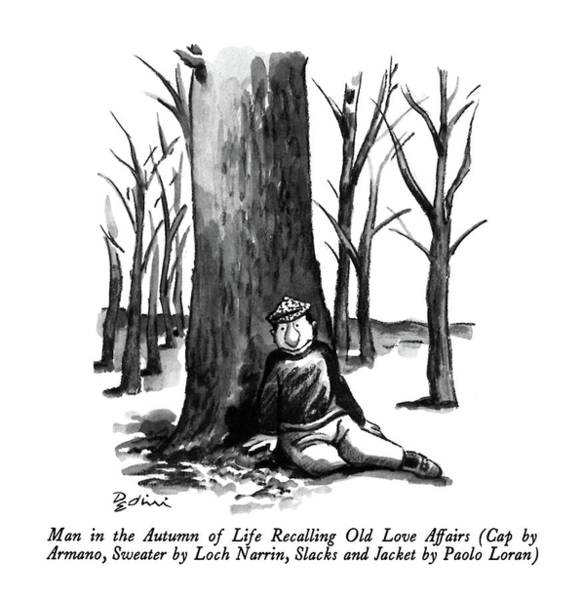 Autumn Drawing - Man In The Autumn Of Life Recalling Old Love by Eldon Dedini