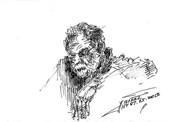 Sitting Wall Art - Drawing - Man In The Corner by Ylli Haruni