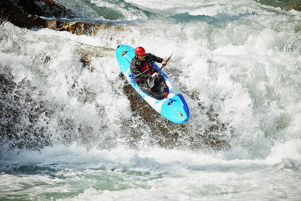 Extreme Sport Photograph - Man Kayaking Off Waterfall In White by Thomas Barwick
