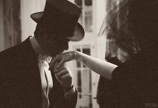 Monochrome Photograph - Man Kissing A Womans Hand by Beverly Brown