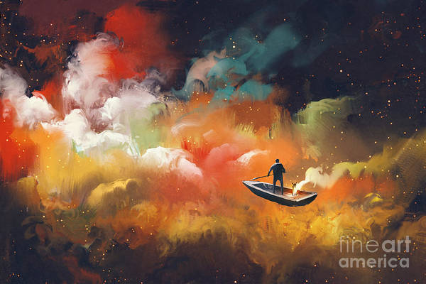 Boats Digital Art - Man On A Boat In The Outer Space With by Tithi Luadthong