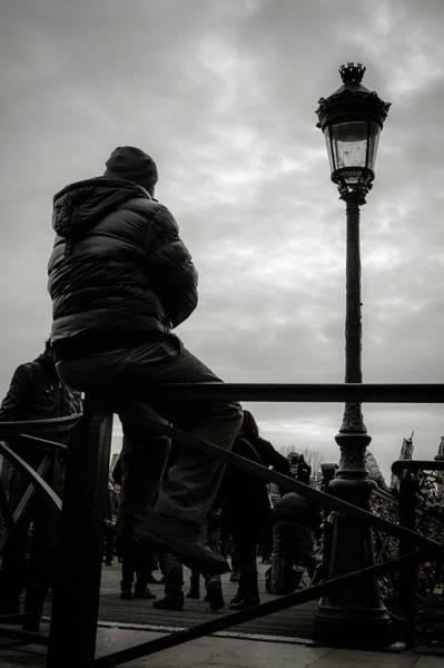 Wall Art - Photograph - Man On A Parisian Bridge by Marco Oliveira