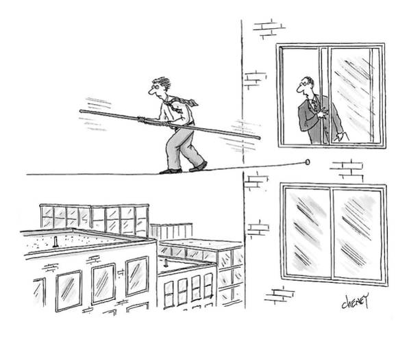 Acrobat Wall Art - Drawing - Man On A Tightrope Outside An Office Building by Tom Cheney
