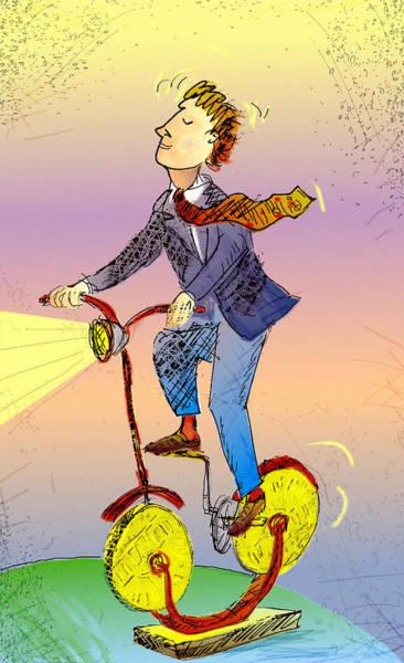 Man On Bike Made Of Coins Art Print by Vasily Kafanov