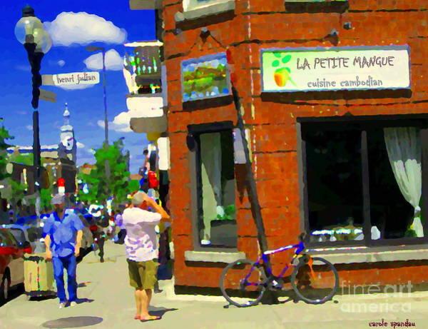 Painting - Man On Cellphone Reads Bistro Menu La Petite Mangue Cuisine Cambodian Cafe Scene Montreal C Spandau by Carole Spandau