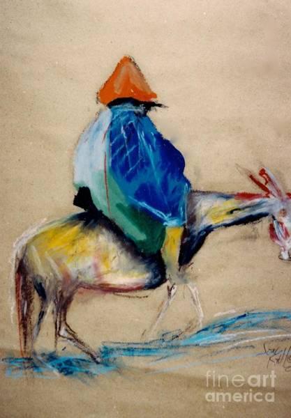 Drawing - Man On Horse by Jon Kittleson