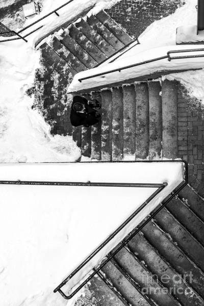 Photograph - Man On Staircase Concord New Hampshire 2015 by Edward Fielding