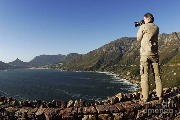 Wall Art - Photograph - Man Photographing Hout Bay by Sami Sarkis