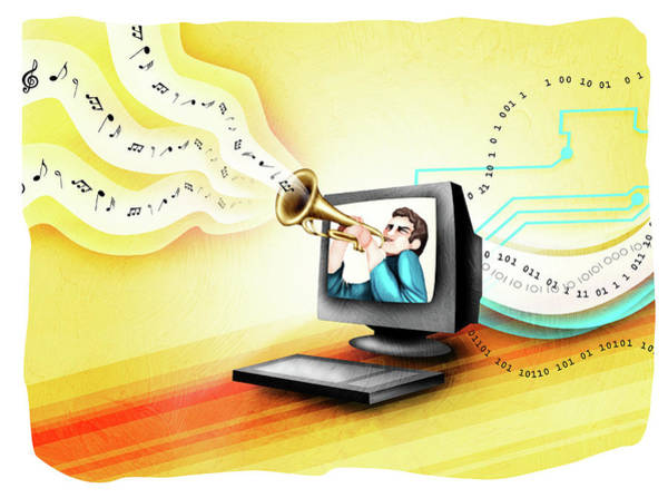 Download Photograph - Man Playing A Trumpet In A Computer by Fanatic Studio / Science Photo Library