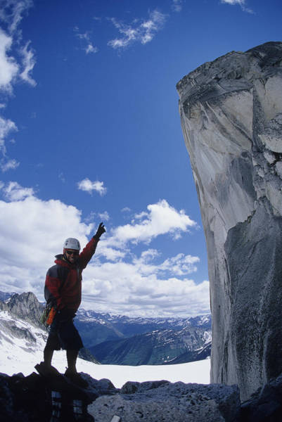 Bugaboo Photograph - Man Pointing Out Climb by Adam Clark