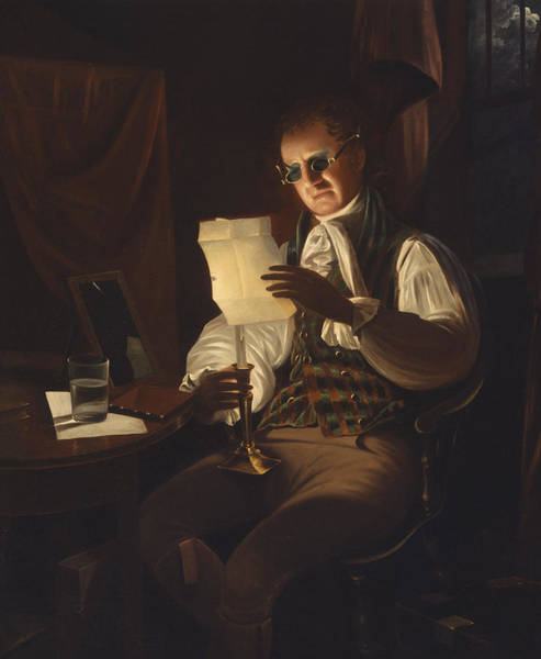 Gloomy Painting - Man Reading By Candlelight by Rembrandt Peale