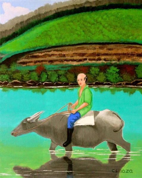 Painting - Man Riding A Carabao by Cyril Maza
