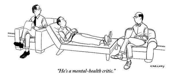 Critics Drawing - Man Sits In Therapists Chair by Alex Gregory