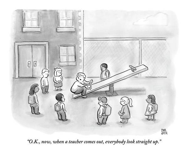 Playing Drawing - Man Sits On See-saw And Speaks To Cluster by Paul Noth