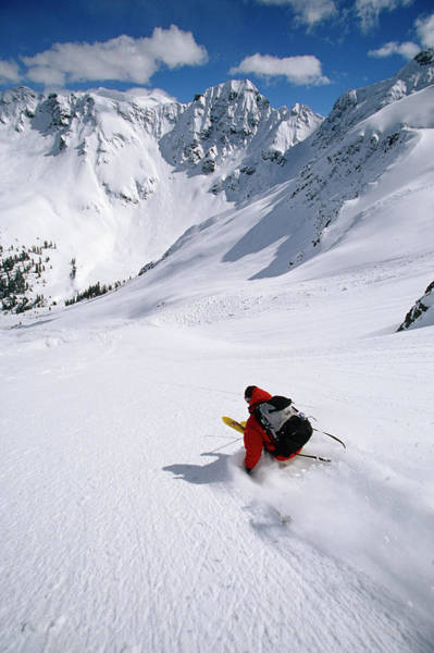 Silverton Photograph - Man Skiing In Untracked Powder, Colorado by Whit Richardson