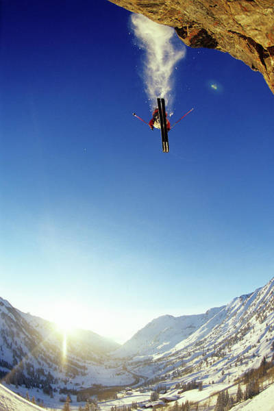 Ski Jumping Photograph - Man Skiing Off A Cliff In Alta, Utah by Scott Markewitz