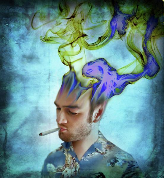Phantasy Wall Art - Photograph - Man Smoking Cigarette With Smoke Coming by Ikon Ikon Images