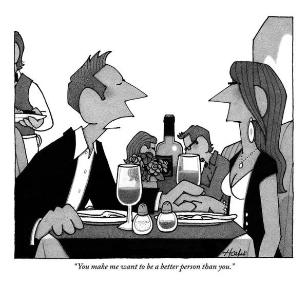 Pretentious Drawing - Man Speaks To A Woman He's On A Date With by William Haefeli