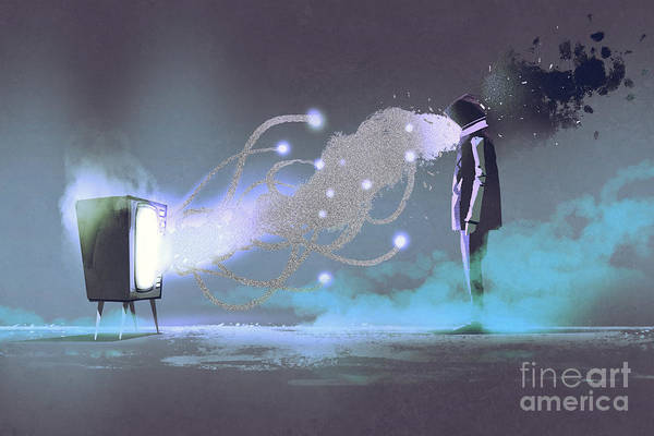 Television Drawing - Man Standing In Front Of Unusual by Tithi Luadthong