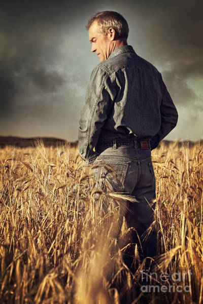 Photograph - Man Standing In Wheat Field by Sandra Cunningham