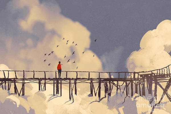Wall Art - Digital Art - Man Standing On Old Bridge In by Tithi Luadthong