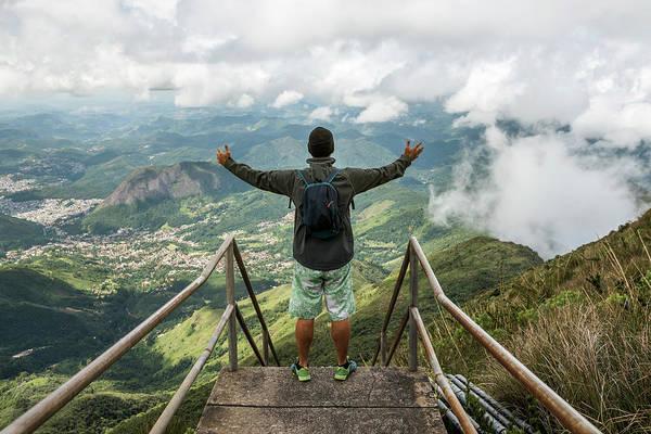 Sweatshirt Wall Art - Photograph - Man Standing On Top Of Staircase by Vitor Marigo