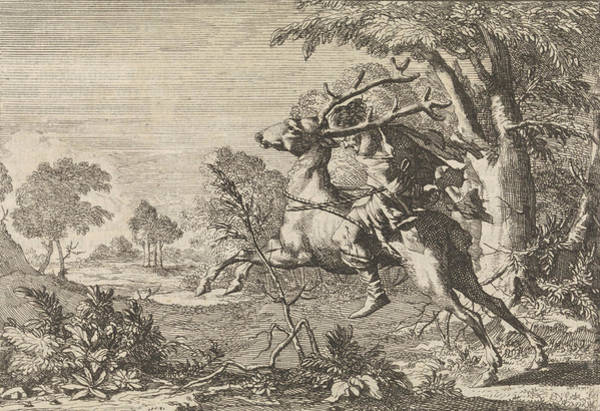 Hoof Drawing - Man Strapped On The Back Of A Deer Sent Into The Wilderness by Caspar Luyken And Pieter Van Der Aa I