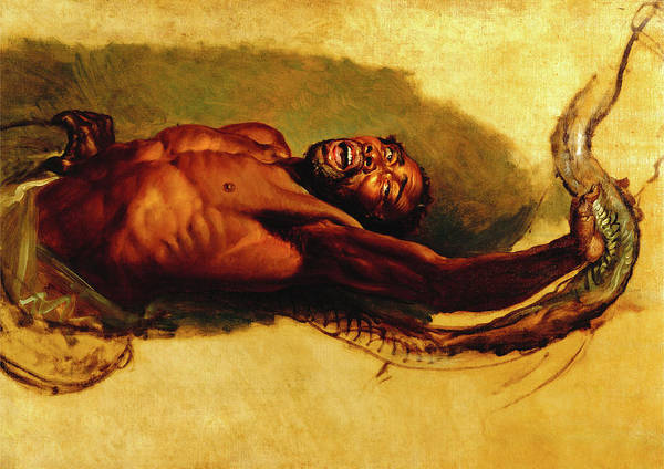 Boa Painting - Man Struggling With A Boa Constrictor, Study For Liboya by Litz Collection