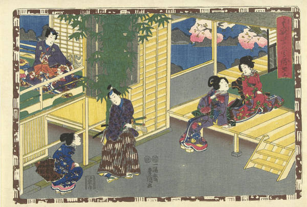 Man Talking With Squatting Woman, Behind Them A Flowering Art Print
