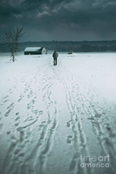 Photograph - Man Walking In The Distance Towards A Barn by Sandra Cunningham