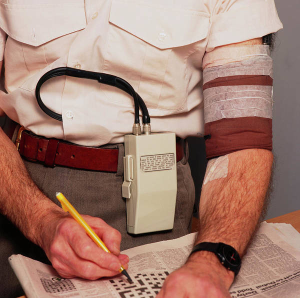 Blood Pressure Wall Art - Photograph - Man Wearing Ambulatory Blood Pressure Monitor by Sheila Terry/science Photo Library