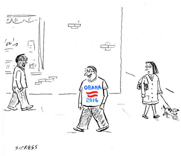 2016 Election Drawing - Man Wearing An Obama 2016 T Shirt by David Sipress