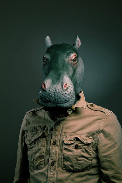 Adult Humor Photograph - Man Wearing Hippopotamus Mask by Tdubphoto