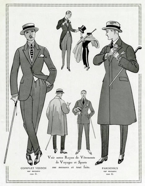 Brochure Drawing - Man Wearing Lounge Suits, Boater by Mary Evans Picture Library