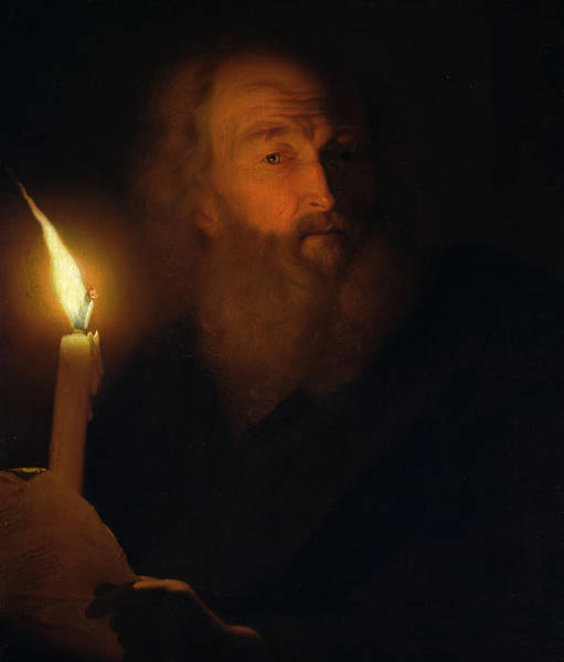 Wax Painting - Man With A Candle by Godfried Schalken