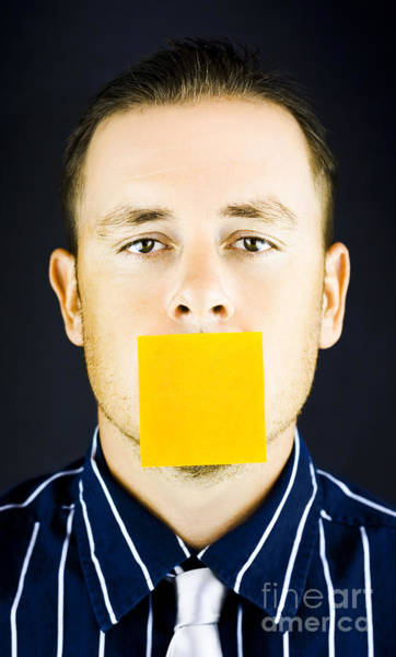 Wall Art - Photograph - Man With Blank Paper Note Over His Mouth by Jorgo Photography - Wall Art Gallery