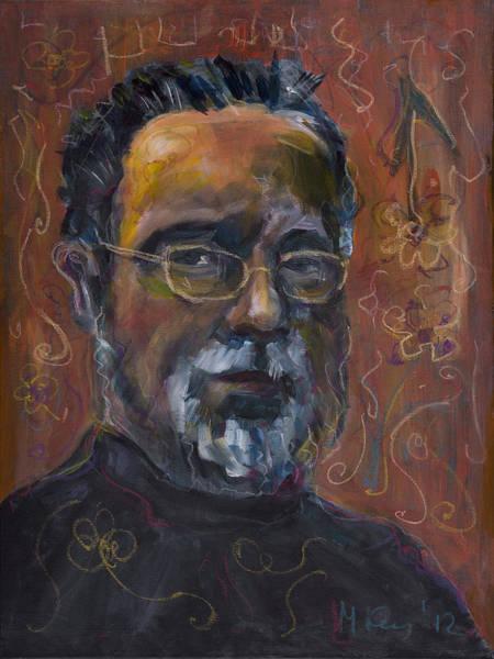 Painting - Man With Flowers-self-portrait by Maxim Komissarchik