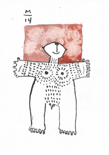 Figurative Drawing - Man With Markings Red  by Mark M  Mellon