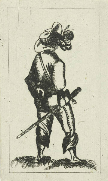 Wall Art - Drawing - Man With Sword On The Rear View, Cornelis Adrianus Van by Cornelis Adrianus Van Hoogstraten