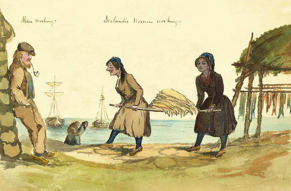Settlers Painting - Man Working And Icelandic Women Working Circa 1862 by Aged Pixel