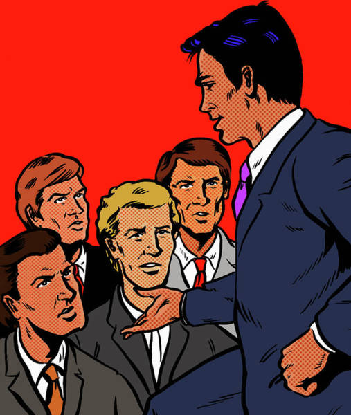 Men Digital Art - Manager Speaking To Unhappy Businessmen by Jacquie Boyd